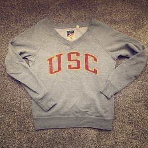 Wide-neck vintage-style USC v-neck sweatshirt